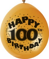"10 'Happy 100th Birthday' 9"" Assorted Colour Balloons"