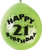 "10 'Happy 21st Birthday' 9"" Assorted Colour Balloons"