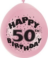 "10 'Happy 50th Birthday' 9"" Assorted Colour Balloons"