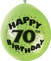 "10 'Happy 70th Birthday' 9"" Assorted Colour Balloons"