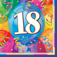 16 Happy 18th Birthday Balloons Theme Paper Party Napkins