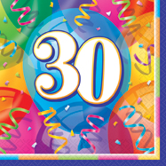 16 Happy 30th Birthday Balloons Theme Paper Party Napkins
