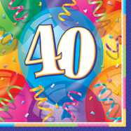 16 Happy 40th Birthday Balloons Theme Paper Party Napkins