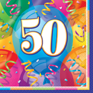 16 Happy 50th Birthday Balloons Theme Paper Party Napkins