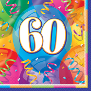 16 Happy 60th Birthday Balloons Theme Paper Party Napkins