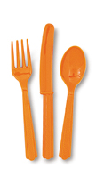 18 Piece Orange Party Plastic Cutlery Set