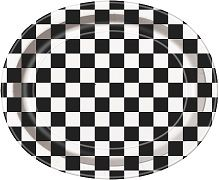 8 Black Checked Oval Paper Party Serving Plates