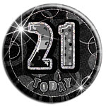 Black Glitz '21 Today' Birthday Badge