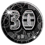 Black Glitz '30 Today' Birthday Badge