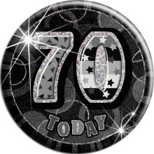 Black Glitz '70 Today' Birthday Badge