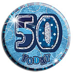 Blue Glitz '50 Today' Birthday Badge