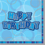 Blue Glitz Paper Party Luncheon Napkins