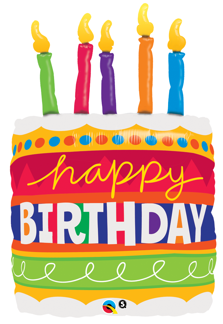Happy Birthday Cake Candles Super Shape Foil Balloon