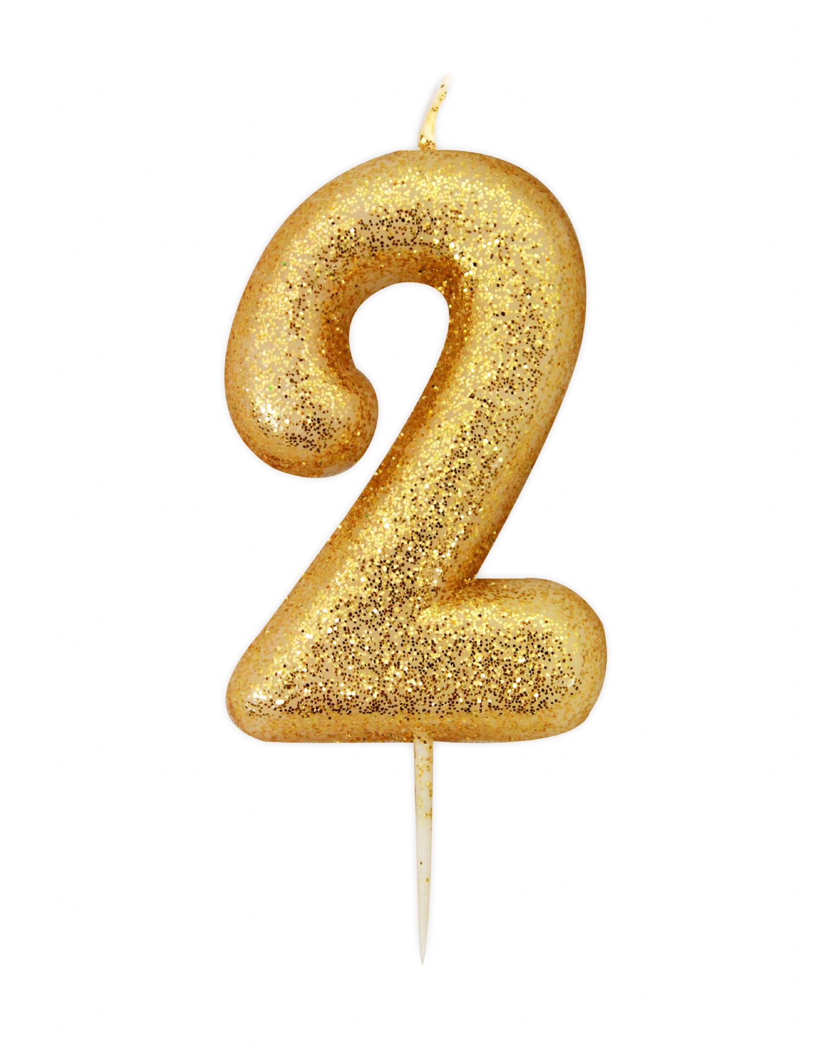 Number 2 gold glitter candle for Glitter numbers for centerpieces
