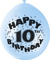"10 'Happy 10th Birthday' 9"" Assorted Colour Balloons"