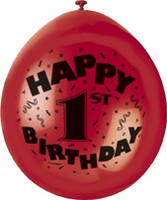 "10 'Happy 1st Birthday' 9"" Assorted Colour Balloons"