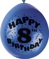 "10 'Happy 8th Birthday' 9"" Assorted Colour Balloons"
