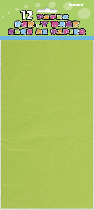 12 Lime Green Paper Loot/ Party Bags