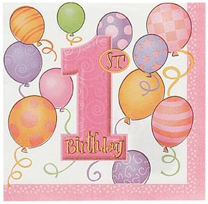 16 1st Birthday Pink Balloons Theme Paper Party Napkins