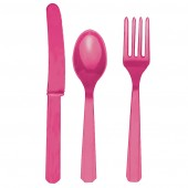 18 Piece Hot Pink Party Plastic Cutlery Set