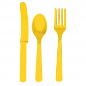 18 Piece Yellow Party Plastic Cutlery Set
