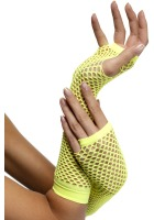 1980's Long Neon Yellow Fishnet Gloves