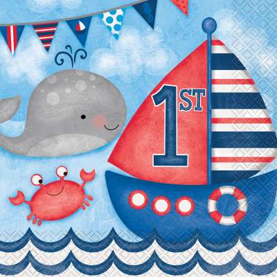 1st Birthday Nautical Theme Paper Napkins