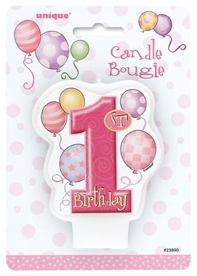 1st Birthday Pink Balloons Theme Cake Candle