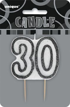 30th Birthday Black Silver Glitter Cake Candle 1301 P