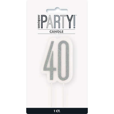 40th Birthday Silver Glitter Cake Candle