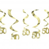 50th Anniversary Golden Wedding Hanging Swirls