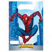 6 Spiderman Plastic Loot/ Party Bags