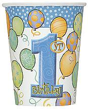 8 1St Birthday Blue Balloons Theme Paper Party Cups