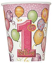 8 1St Birthday Pink Balloons Theme Paper Party Cups