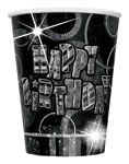 8 Black Glitz Paper Party Cups