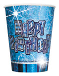 8 Blue Glitz Paper Party Cups
