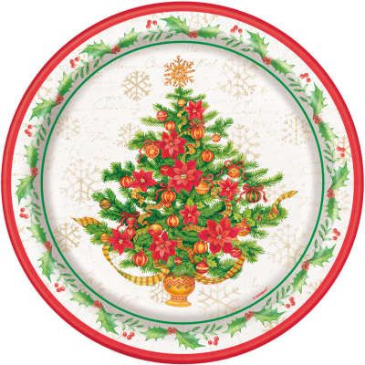 8 Festive Ponsiettia Christmas Tree Paper Party Plates