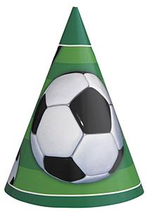 8 Football Cardboard Party Cone Hats