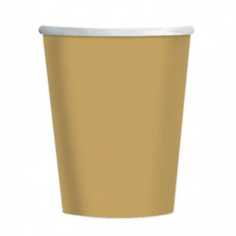 8 Gold Paper Party Cups