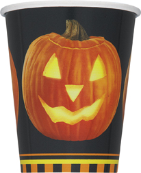 8 Halloween Pumpkin Glow Paper Party Cups
