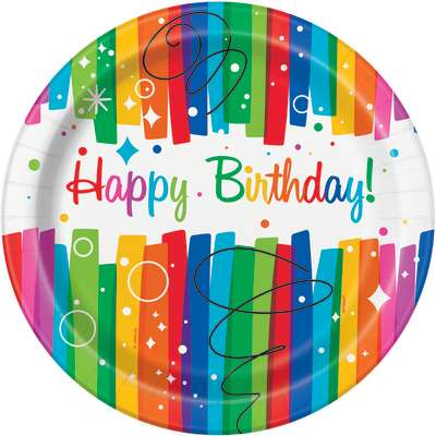 8 Happy Birthday Brilliant Theme Paper Party Plates