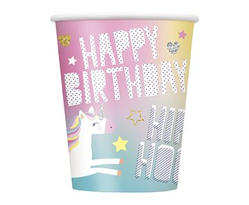 8 Happy Birthday Unicorn Paper Cups