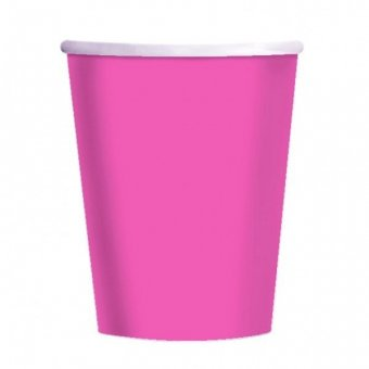8 Hot Pink Paper Party Cups