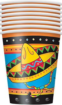 8 Mexican Party Theme Paper Party Cups