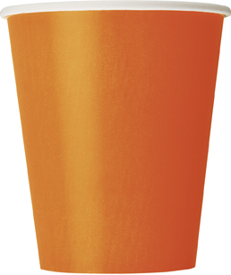 8 Orange Paper Party Cups