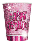 8 Pink Glitz Paper Party Cups