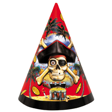 8 Pirate Bounty Cardboard Party Cone Hats