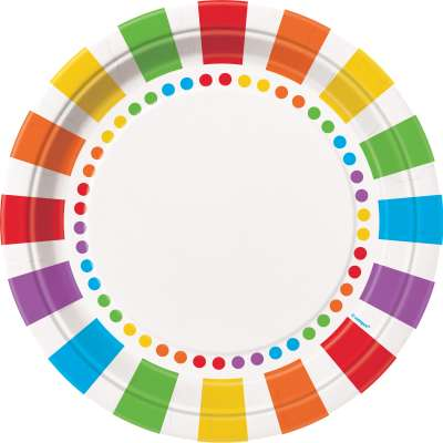 8 Rainbow Paper Party Plates