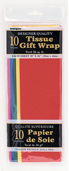 Assorted Colour Mix Tissue Paper 10 Sheet Pack