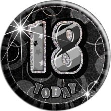 Black Glitz '18 Today' Birthday Badge